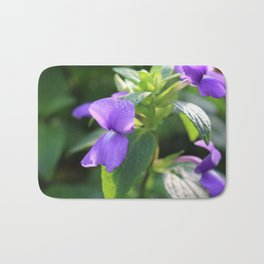 Purple Snap Dragon Flowers Bath Mat