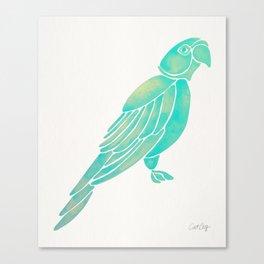 Perched Parrot – Mint Palette Canvas Print