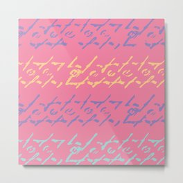 Pink Ethnic Boho Painted Pattern Metal Print