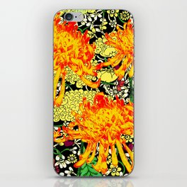 colorful oriental style golden spider mums pattern art iPhone Skin