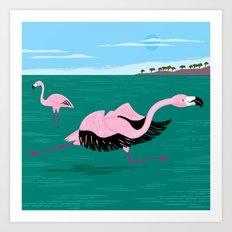 Go Flamingo Go Art Print