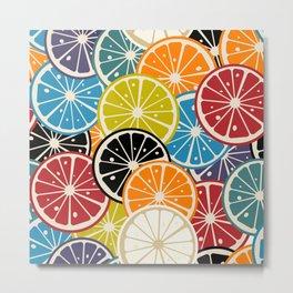 Lemon slice colored pattern Metal Print