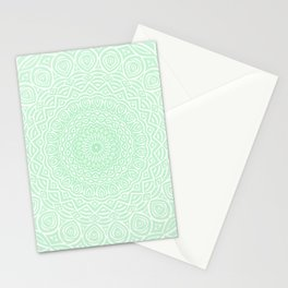 Green Mandala Design Extra Detailed Geometric Ethnic Tribal Pattern Stationery Cards