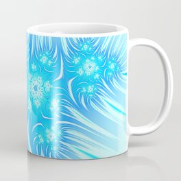 Abstract Christmas aqua blue white pattern. Frozen flowers Coffee Mug