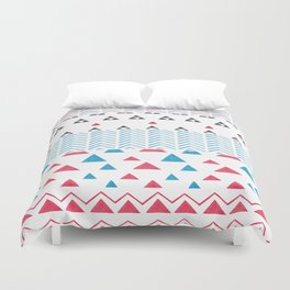 Watercolor hand painted pink blue black tribal geometrical Duvet Cover