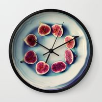 fruits Wall Clocks featuring fruits  by Claudia Drossert