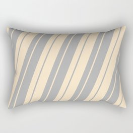 Bisque and Dark Grey Colored Stripes Pattern Rectangular Pillow