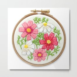 Pink Cosmos Embroidered Hoop Art Metal Print