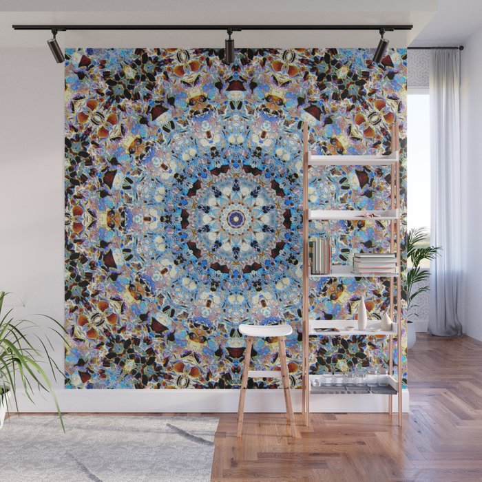 Blue Brown Folklore Texture Mandala Wall Mural