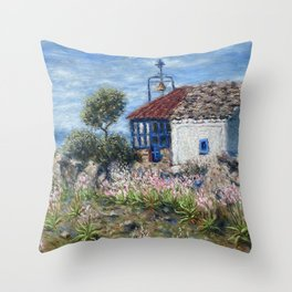 Chapel of Apostle Andrew in Aegina Greece Throw Pillow