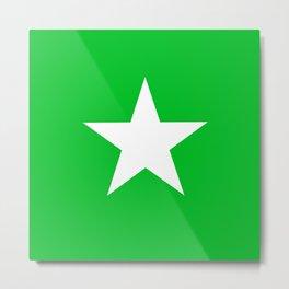 white star on green background Metal Print