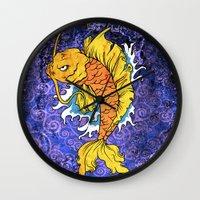 koi fish Wall Clocks featuring Koi Fish by Spooky Dooky