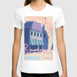 Rennes France Cartoon travel poster T-shirt