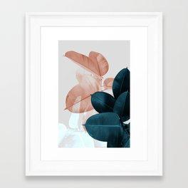 Blush & Blue Leaves Framed Art Print