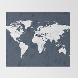 Minimalist World Map in Navy Blue Throw Blanket