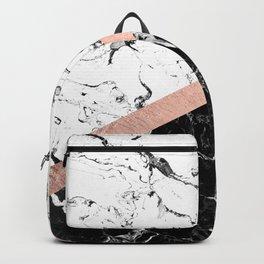 Modern black white marble color block rose gold Backpack