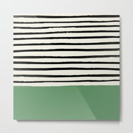 Moss Green x Stripes Metal Print