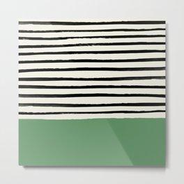 Moss Green x Stripes Metal Print