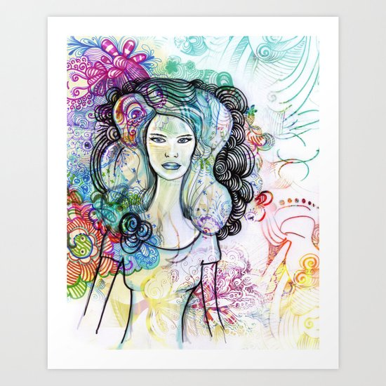 doodle girl Art Print