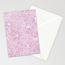 Modern trendy white floral lace hand drawn pattern on mauve pink lavender Stationery Cards