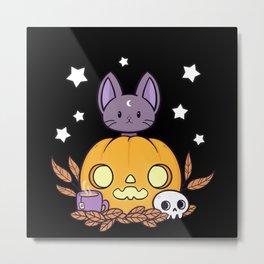 Pumpkin Cats Son // Black Metal Print