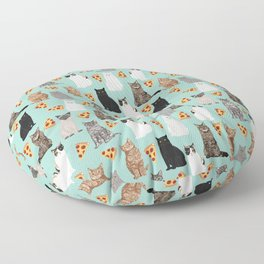 Cats with Pizza slices cheesy food funny cat lover gifts by pet friendly pet portraits Floor Pillow