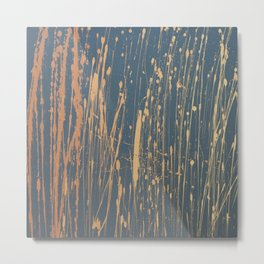 Ombre 514 - Abstract Splatter in Orange, Gray, Yellow Metal Print