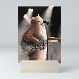 Rocker Cat With Rock Guitar Mini Art Print
