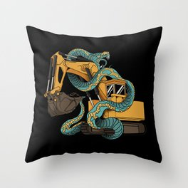 Excavator vs Anaconda Throw Pillow