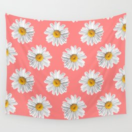 Daisies & Peaches - Daisy Pattern on Pink Wall Tapestry