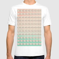 cats-456 MEDIUM White Mens Fitted Tee