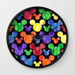 Mickey Mouse Rainbow Arrows Wall Clock