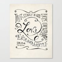 scripture Canvas Prints featuring Love Extravagantly scripture print by Kristen Ramsey