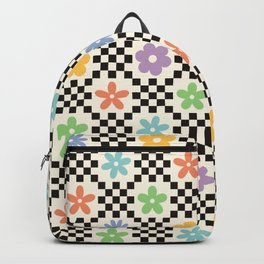 Retro Colorful Flower Double Checker Backpack