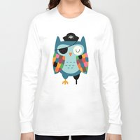 captain Long Sleeve T-shirts featuring Captain Whooo by Andy Westface