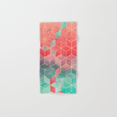 Rose And Turquoise Cubes Hand & Bath Towel