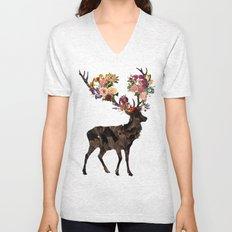 Spring Itself Deer Flower Floral Tshirt Floral Print Gift Unisex V-Neck