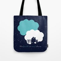 fault in our stars Tote Bags featuring The Fault In Our Stars by laurenschroer