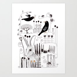 Black birds and bunnies Art Print