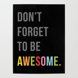 Be Awesome 2 Funny Quote Poster