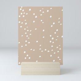 White Dots On Sand Beige Mini Art Print