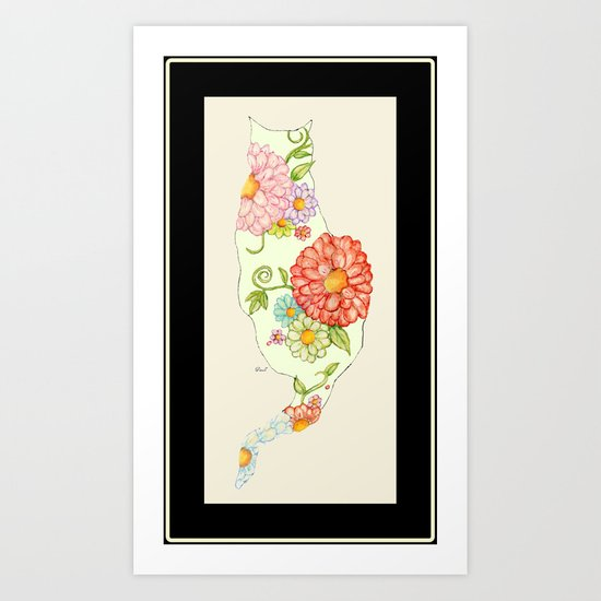 Elegant Kitty Silhouette Sandy Art Print
