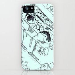 CHUBY BIRDS WITH HAIRCUTS AT WORK iPhone Case