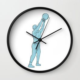 Athlete Fitness Kettlebell Swing Drawing Wall Clock