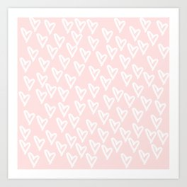White hearts Art Print