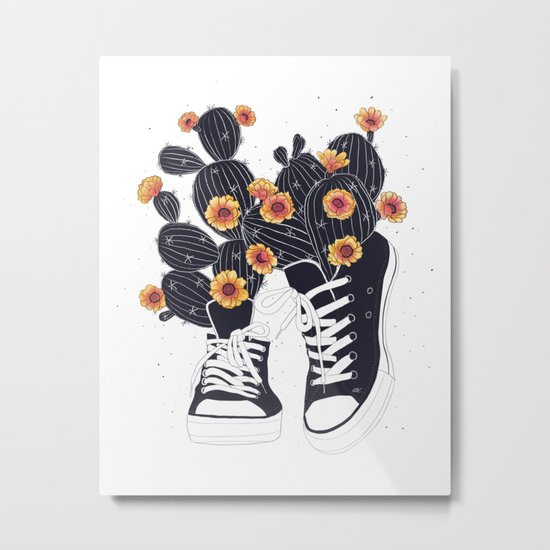 Sneakers with cactus Metal Print