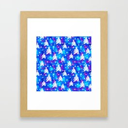 Watercolor Seamless pattern with hand drawn snowflakes and christmas tree . Framed Art Print