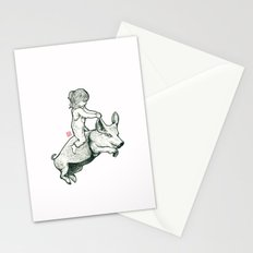 Girl on a flying pig Stationery Cards