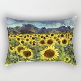 Sunflower Fields Of Summer Van Goth Rectangular Pillow