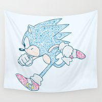 sonic Wall Tapestries featuring Sonic The Hedgehog Colour by jordantheplatt